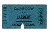 Edinburgh & Glasgow Railway 2nd class single ticket from Glasgow to Larbert.<br /> [Mike Morant collection]