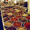A market in Korea with lots of variations of Kimchi (which all look and taste similarly poor). (2007)