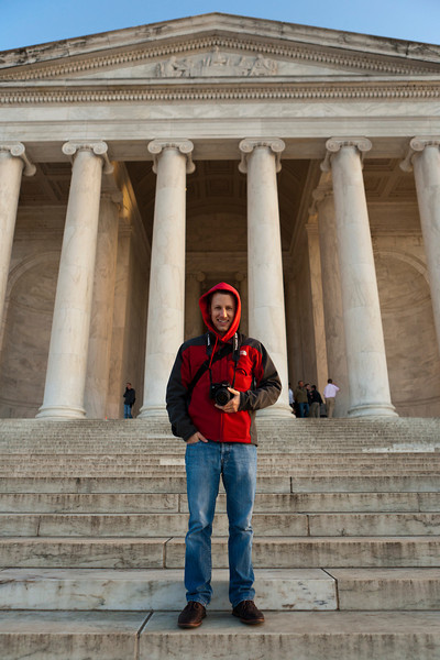 Mark in front of the Jefferson Memoral. Digital, Washington, DC, March 2014. Ed