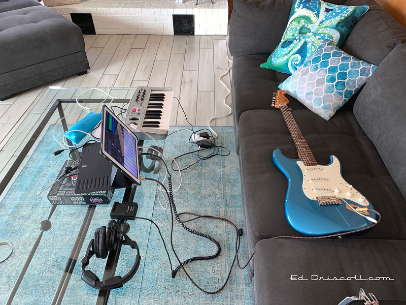 Squier Strat and Mobile Studio, September 18th, 2020.
