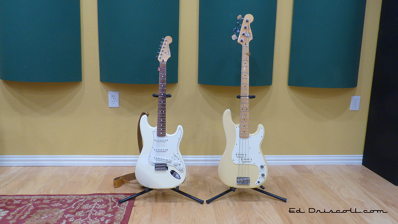 White Roland-Ready Strat and 1983 Precision Bass, 7-16-18