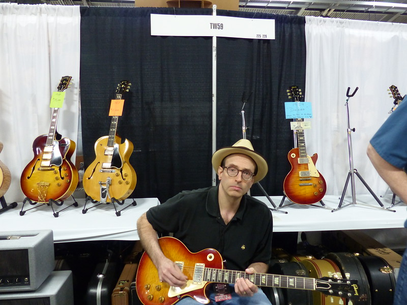 Ed at Dallas Guitar Show, with Tom Wittrock's 1959 Les Paul, 5-29-15