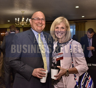 Joseph P. Dragone, Superintendent of Schools at the Ballston Spa Central School District with panelist Kristine Duffy, president of SUNY Adirondack