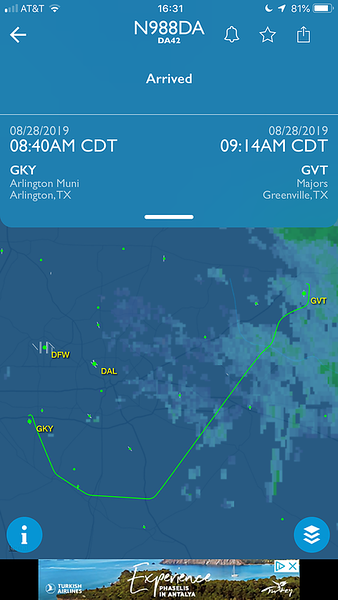 The trip over to the checkride (Greenville, TX).