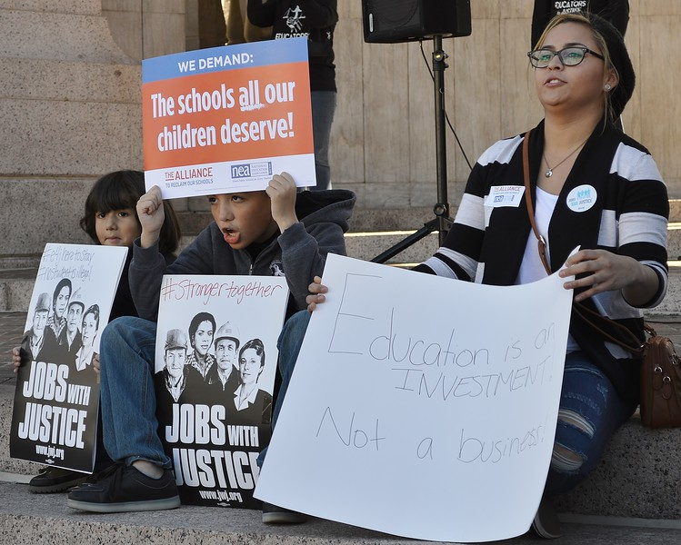 "Many public school students were among the crowd at the ""Educators For Justice"" rally in Denver."