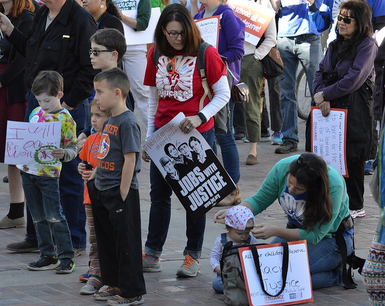 """These public school students and their mothers were among the crowd at the """"Educators For Justice"""" rally in Denver."""