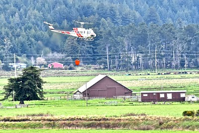 A Cal Fire helitack chopper takes off from Ryan's Slough after filling it's water bucket headed for a fire suppression demonstration at the  Redwood Acres for the 79th annual Redwood Region Logging Conference. (Jose Quezada - For the Times-Standard)