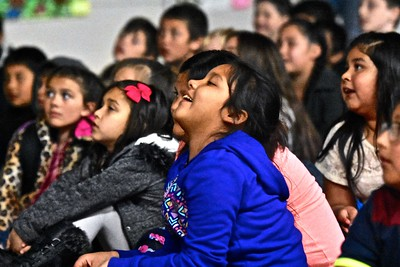 Lola Boyce smiles as she recognizes a picture of an owl in the wild sitting with her fellow Loleta Elementary School third graders from Ms. Roseberry classroom. (Jose Quezada - For the Times-Standard)