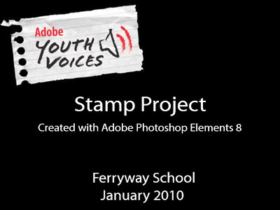 The Stamp Project challenged students to build a multi-layered composition using Adobe Photoshop Element 8.  AYV students chose their celebrity or famous person as an example of a positive role model in their lives.  Students learned to use basic Photoshop editing techniques to enhance the stamp background and construct a simulated edge effect.