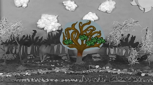 After Clip - Chroma key tree crown overlaid with Photoshop Elements images.  This special effect allows animation on the stop motion set to be recorded like the clouds.