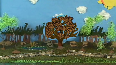 "Test clip produced in the forest set showing the ""friendship tree.""  The  tree's crown is animated using a chroma key overlay with the leaves drawn in multiple Photoshop layers."
