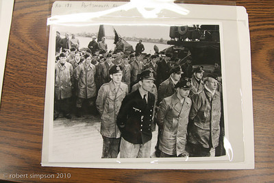 World War II photograph of German U-Boat sailors surrendering.  Portsmouth Naval Shipyard, NH.