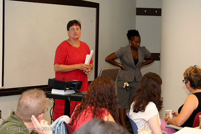 Historians, Pat Reeve and Kerri Greenidge welcomes teachers to start of the Summer Institute held at Suffolk University.