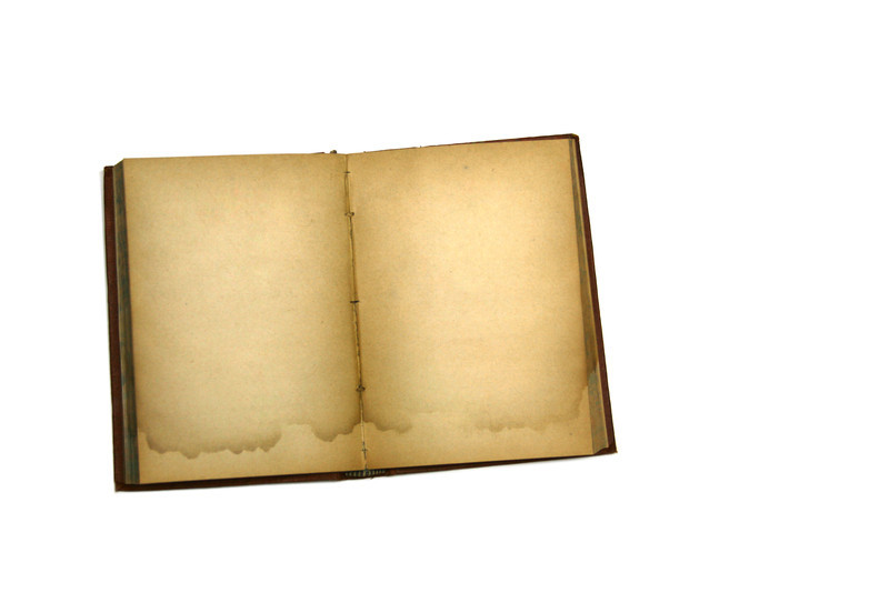 Water stained blank page of an antique book.