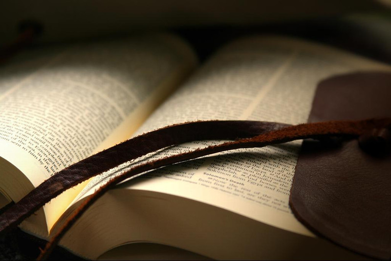 Old leather-bound Bible.