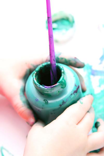 Primary arts and crafts: chubby bottles of poster paint are a real mess!