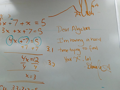 "Solving Linear Equations... (The graph above ""Dear Algebra"" represents my theory on the analytic ability for a student transitioning from 6th to 10th grade. Smooth ascent, turbulence, then resumption of the smooth ascent.)"