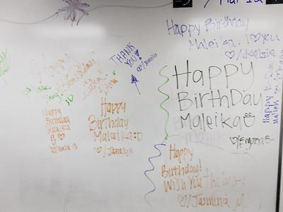 Tiny Maleika had a birthday, and her friends Isela, Janely, Kelsie, Jasmina, Bryana B., and Joana wished her well. Maleika  replied. 7-Mar-12
