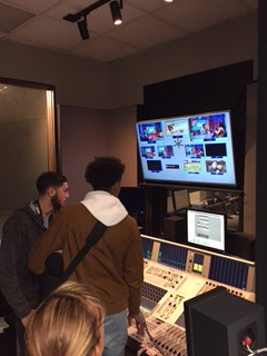 Students check out the sound and audio controls.