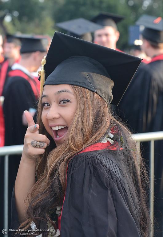 . Kiana Abenoja on Friday, May 15, 2015, during the Chico State 2015 Commencement Ceremony at University Stadium in Chico, California. (Dan Reidel -- Enterprise-Record)