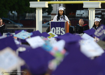 One of Oroville High School's two Class of 2016 valedictorians, Mai Yer Thao speaks to her class and the commencement attendees as she graduates Friday, June 10, 2016, at Harrison Stadium in Oroville, California. (Dan Reidel -- Mercury-Register)