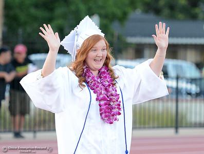 Raeanne Crosthwaite gets excited as she enters Harrison Stadium for Oroville High School's Class of 2016 graduation Friday, June 10, 2016, in Oroville, California. (Dan Reidel -- Mercury-Register)