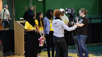 Najma gives an interview at the end of their competition.
