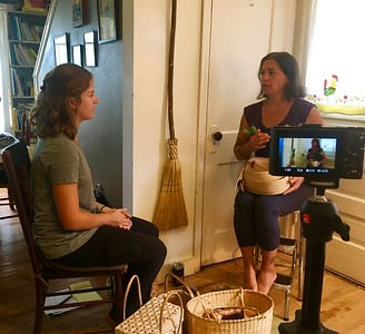 Stephanie Dooper interviewing tribal member and basket maker April Stone
