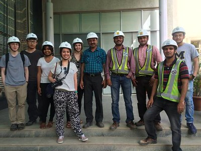 In the photo are our fellows Sean Murphy, Zeqi Zhu, Sneha Rao, Olivia Lu-Hill, Michelle Hindman and Yash Shah, accompanied by staff member from Omkar and L&T Reality. The first photo was taken by an anonymous engineer on the site. And the second one is a selfie accredited to Olivia Lu-Hill.