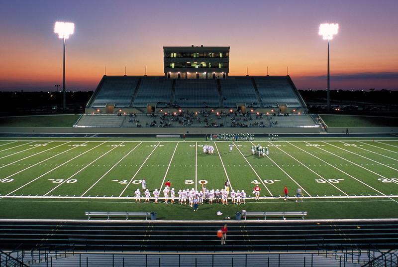 Murphy HS Stadium (Tim Kimbrough Stadium), Murphy Texas. 9/2003 (shot on Provia slide film).  Client:  construction company