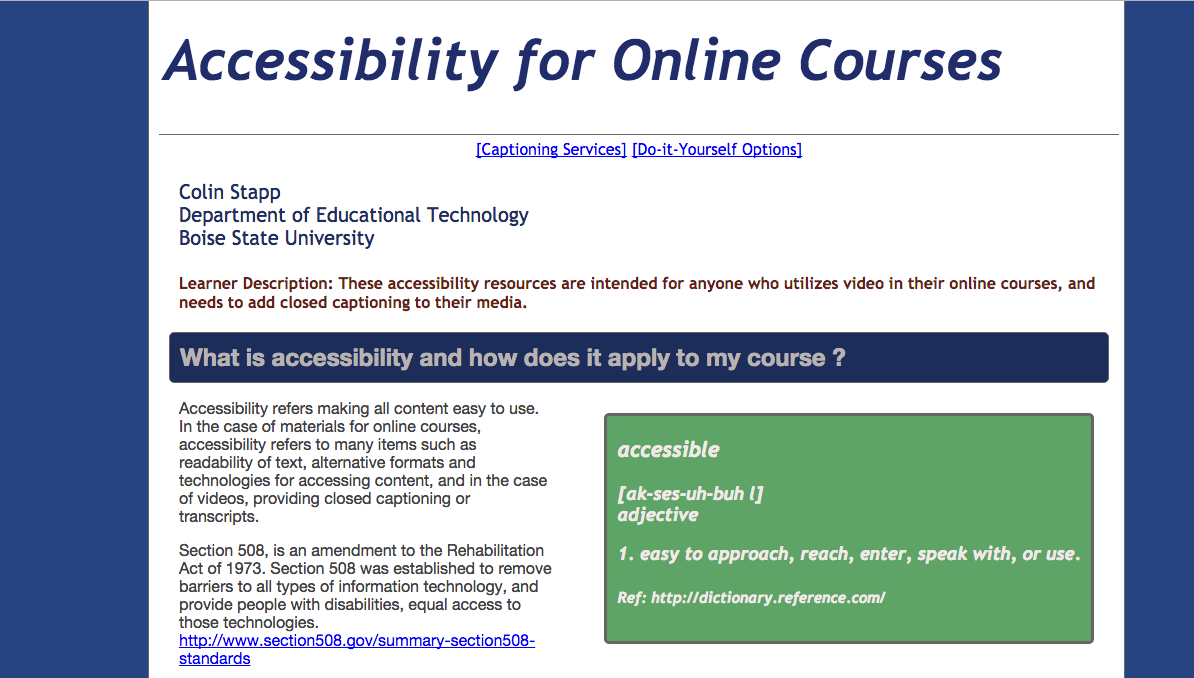 Accessibility Resource Page