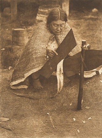 Preparing Cedar-Bark - Nakoaktok (The North American Indian, v. X. Norwood, MA: The Plimpton Press, 1915)