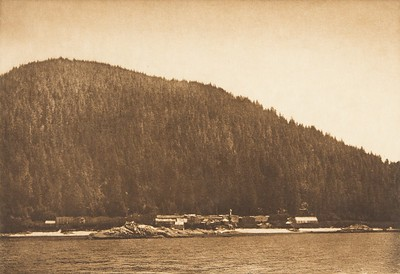 Kwaustums Village, Gilford Island [Kwakiutl] (The North American Indian, v. X. Norwood, MA: The Plimpton Press, 1915)