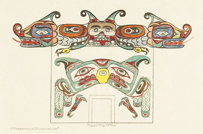 A Tsawatenok House-Front (The North American Indian, v. X. Norwood, MA: The Plimpton Press, 1915)