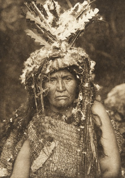 Costume of a woman Shaman - Clayoquot (The North American Indian, v. XI. Cambridge, MA: The University Press, 1916)