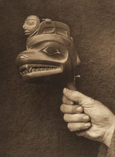 Shaman's rattle - Haida (The North American Indian, v. XI. Cambridge, MA: The University Press, 1916)