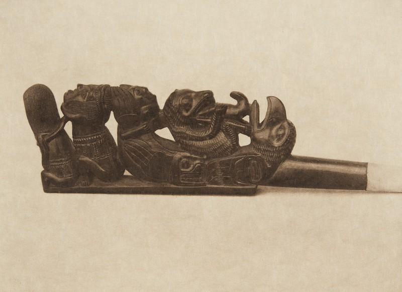 Haida Slate pipe (The North American Indian, v. XI. Cambridge, MA: The University Press, 1916)