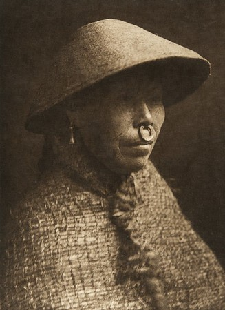 Clayoquot woman in the cedar-bank hat (The North American Indian, v. XI. Cambridge, MA: The University Press, 1916)