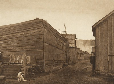 Village scene - Neah Bay (The North American Indian, v. XI. Cambridge, MA: The University Press, 1916)
