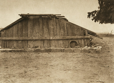 Hupa house (The North American Indian, v. XIII. Norwood, MA, The Plimpton Press,  1924)