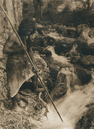 Watching for salmon - Hupa (The North American Indian, v. XIII. Norwood, MA, The Plimpton Press,  1924)