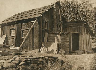 Modern Yurok house (The North American Indian, v. XIII. Norwood, MA, The Plimpton Press,  1924)