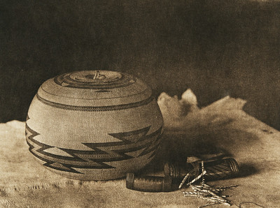 Hupa basket and purses (The North American Indian, v. XIII. Norwood, MA, The Plimpton Press,  1924)