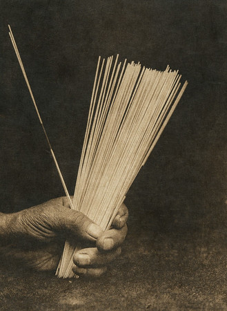 Sticks used in Hupa guessing game (The North American Indian, v. XIII. Norwood, MA, The Plimpton Press,  1924)
