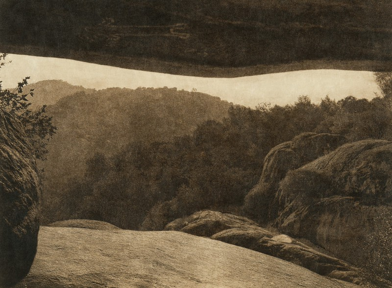 Looking out of the painted cave (The North American Indian, v. XIV. Norwood, MA, The Plimpton Press, 1924)