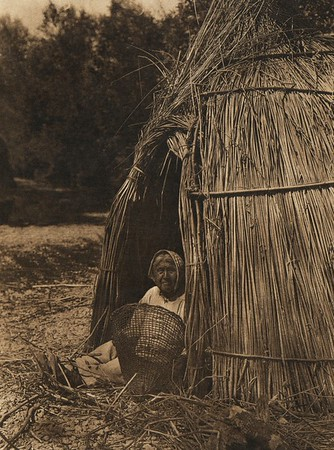 Construction of a tule shelter - Lake Pomo (The North American Indian, v. XIV. Norwood, MA, The Plimpton Press, 1924)