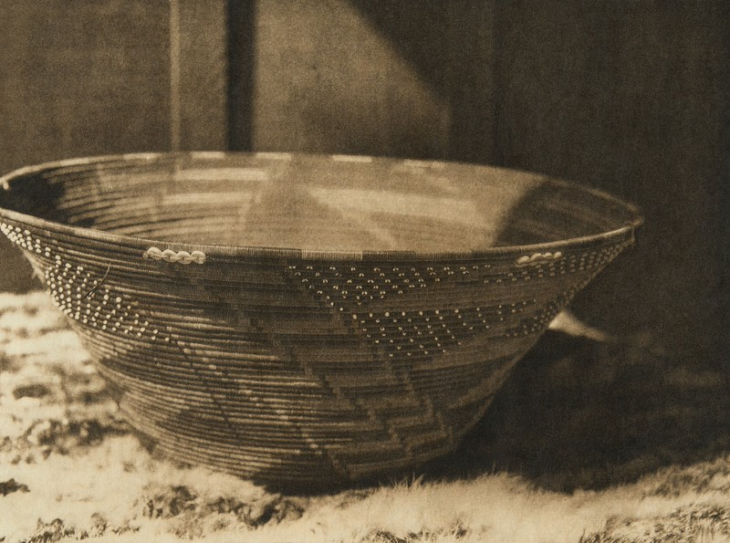 Basket used in puberty rites - Pomo (The North American Indian, v. XIV. Norwood, MA, The Plimpton Press, 1924)