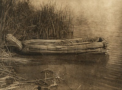 Tule balsa on Clear Lake (The North American Indian, v. XIV. Norwood, MA, The Plimpton Press, 1924)
