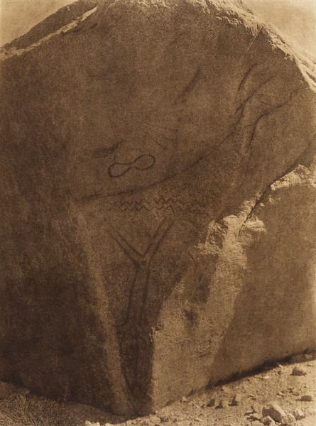 Phallic rock painting at Walker Lake  (The North American Indian, v. XV. Norwood, MA, The Plimpton Press, 1926)
