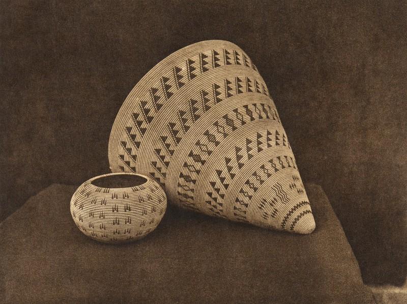 Washo burden-basket and trinket-basket (The North American Indian, v. XV. Norwood, MA, The Plimpton Press, 1926)